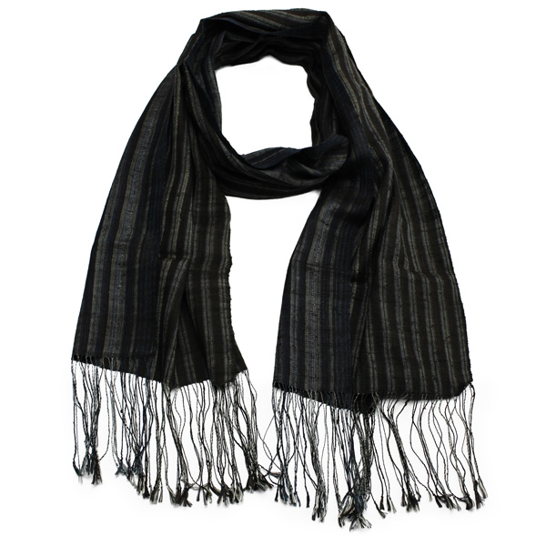 Striped Laos Silk Scarf
