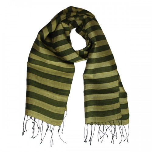 Green striped Lao scarf