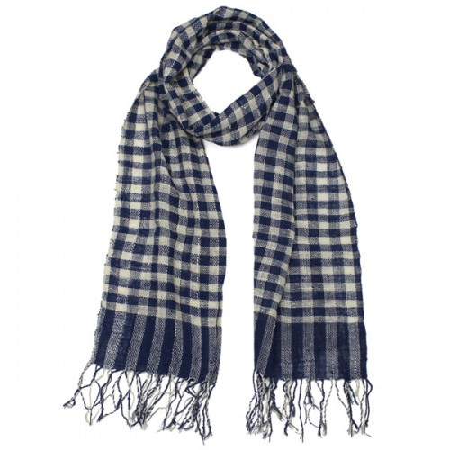 Laos check scarf main