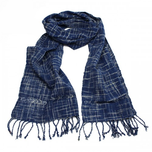 Loose check ikat scarf