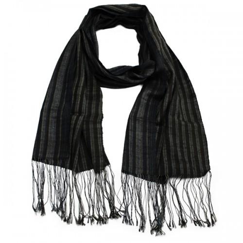 Striped Laos Silk Scarf